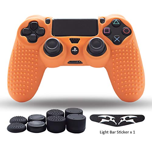 PS4 Controller Skin,Silicone Grips for Playstation 4 PS4/Slim/Pro Controller Anti Slip Cover Case Protector for Dual Shock 4 Controller - One Light Bar Sticker - 8pcs Pro Thumb Grips-Studs Orange