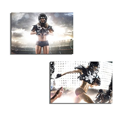 American Football Female Player Posing and Running with Ball Wall Decor ation x 2 Panels