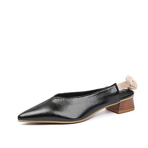 Angrousobiu 空 rauhen und 空 Angrousobiu Und unten mit Bow Tie und Sexy Spitzen Arbeit Schuhe einzelne Schuhe Root Höhe 4cm Schwarz a12480