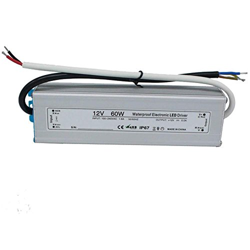 AC 100-240V to DC 12V 5A Waterproof LED Power Supply Driver Transformer, Aluminum Alloy Case, Weatherproof Level IP67 60W