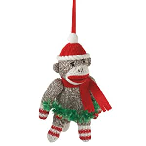 Midwest CBK Sock Monkey With Jingle Bell Christmas Ornament