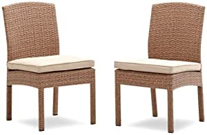 Strathwood Griffen All-Weather Wicker Dining Armless Chair, Natural, Set of 2
