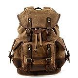 WUDON Men Travel Backpack, Genuine Leather-Waxed Canvas Shoulder Hiking Rucksack...