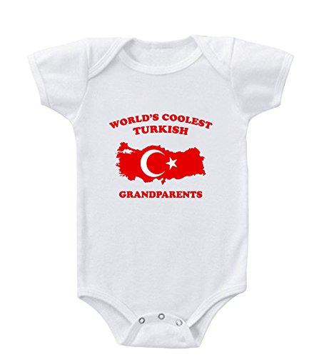Worlds Coolest TURKISH Grandparents Infant Baby Bodysuit One Piece White 12 Months
