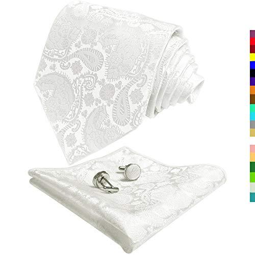 - CANGRON Men White Paisley Tie Set Necktie with Pocket Square Cufflinks +Giftbox LSP8BA