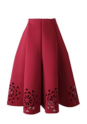 Full Skirt Pleats Skirt - HSSH Womens High Waist Pleat Full Skirt A Line Hollow Out Vintage Mid Skirts (L, Burgundy)
