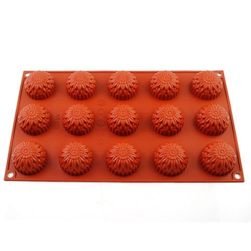 Baking Molds Christmas Rectangle Silicone Non-stick Sunflower Shapes Chocolate Cupcake Cookie Cake Muffin Pan Bakeware Tray Soap Mould Crafts Reusable Kitchen Tool 1 PCS (15 Cavity 1.6' x 0.6')