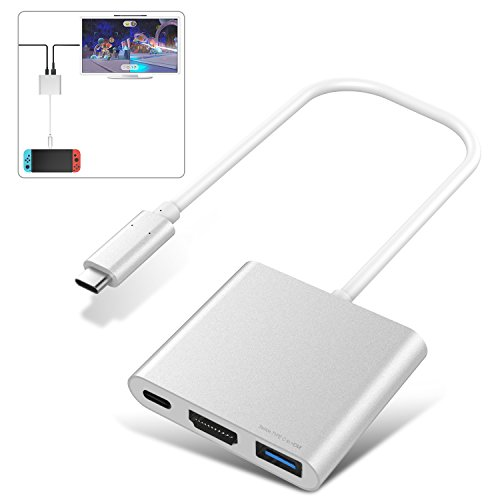Type C to HDMI Adapter for Nintendo Switch, MoKo 3 in 1 HDMI & USB & Type-C Mini Converter Cable Dock for Nintendo Switch - Silver