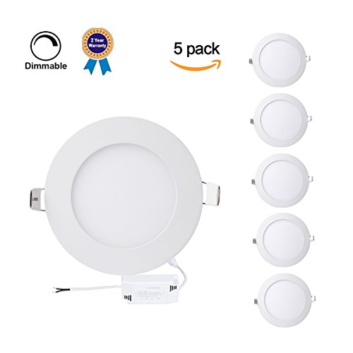 P&B Lighting 5 Pack 15W Dimmable LED Panel Light Lamp, Round Recessed Ceiling Light, 100W Incandescent Equivalent, 1200lm, Neutral White 4000K, Cut Hole 7.1 Inch, Downlight with 110V LED Driver
