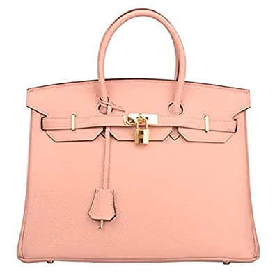 Genuine Women's Genuine Leather Padlock Handbags With Gold Hardware (30cm, Nude Pink)