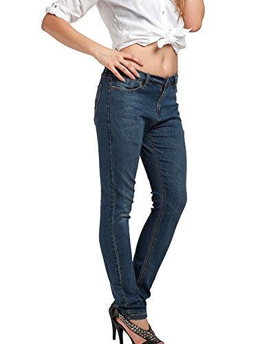 Skinny Jeans Femme lastiques Pantalons Bleu Haute Petits Taille Slim Pieds Casual wgwRCq6