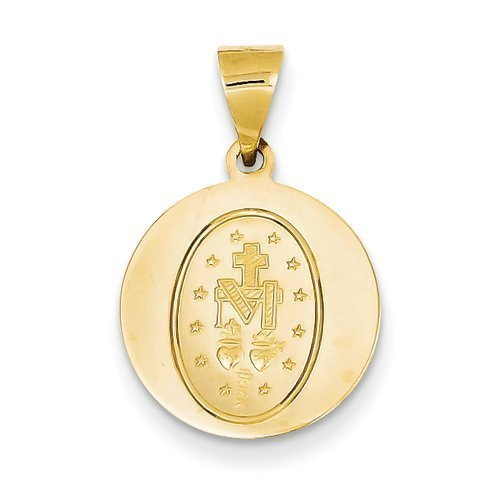14K Yellow Gold Miraculous Medal - 1-1/8 Inch X 1-1/8 Inch in 14K Yellow Gold (Miraculous Medal Yellow 14k Gold)