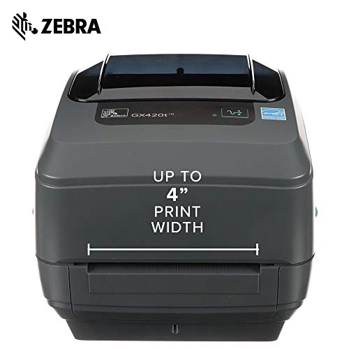 Zebra - GX420t Thermal Transfer Desktop Printer for Labels, Receipts, Barcodes, Tags, and Wrist Bands - Print Width of 4 in - USB, Serial, and Parallel Port Connectivity by Zebra (Image #3)