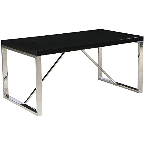 2xhome - 63 Inches Modern Dining Table or Home Office Desk Table for Computer Laptop Designer White Glossy Chrome Metal Legs (Eames Rectangular Table)