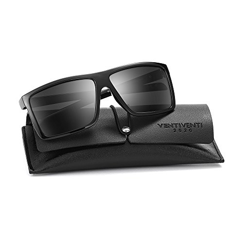 2020Ventiventi Polarized Black Sunglasses for Men Square Frames 51mm UV Protection Lightweight for Driving - Mens Sunglasses Polarised