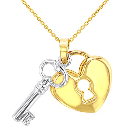 Polished 14K Yellow Gold Heart with White Gold Love Key Pendant Necklace, 16