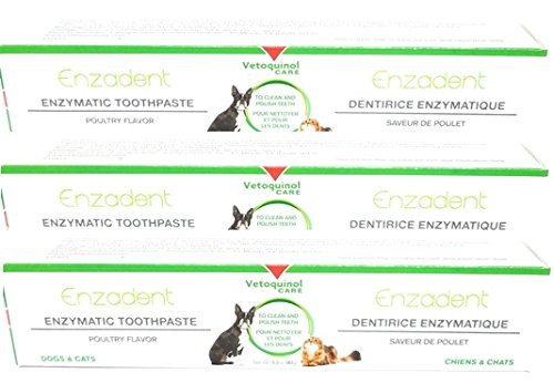 Enzadent 3 Pack Enzymatic Toothpaste for Dogs and Cats, Poultry Flavor