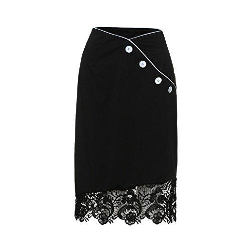 ESAILQ Mini Plisse La Taille Jupe Noir Jupe Bouton Longue Dentelle Femmes D't lastique vwSvHrq