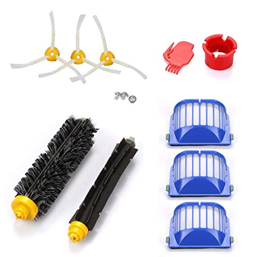 JDgoods Replacement Parts for iRobot Roomba 600 610 620 650 Series, Vacuum Cleaner Replacement Part Kit, Accessories Parts 2Pcs Main Brush +3Pcs Side Brush +3Pcs Hepa Filter +2Cleaning tool