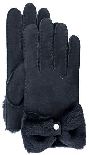 (UGG Women's Bow Shorty Water Resistant Sheepskin Gloves Black MD)