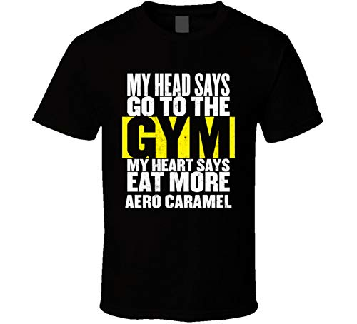 Aero Caramel - My Heart Says Eat More Aero Caramel Funny Food Gym T Shirt S Black
