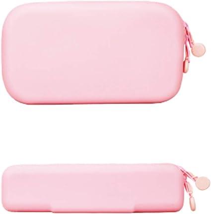 Estuche de silicona para lápices de color blanco y rosa, tamaño pequeño y grande, resistente al agua, para lápices de silicona Kawaii, soporte para bolsa de lápices para mujeres (rosa): Amazon.es: Oficina