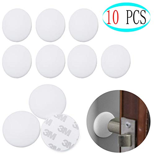 Bangbuy 10 Pieces Silicon Door Knob Wall Protectors Self Adhesive Door Stopper, 3M Sticker Adhesive Door Handle Bumper Self Adhesive Round Rubber Stop (White)