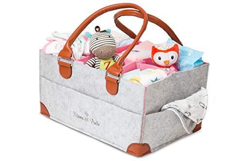 Diaper Caddy Organizer- Felt Baby Caddy for Baby Shower Gift| Portable Diaper Caddy with Bonus Felt Bag| Foldable Diaper Caddy| Nursery Organizer Bin