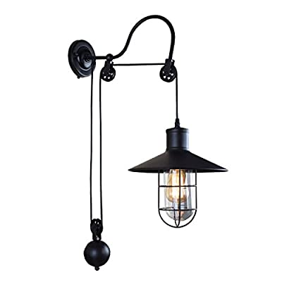 Lingkai Industrial Adjustable Gooseneck Wall Mounted Glass Lamp Pulley Wall Lamp Wheel Wall Light with Cage