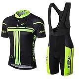 INBIKE Cycling Jerseys Men Suit Short Sleeves 3D Padded Bib Shorts Mens Summer Bicycle Bike Sportwear(Bib Shorts,XXL)