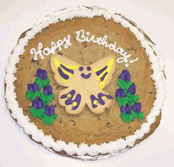 Scott's Cakes 1 lb. Chocolate Chip Cookie Cake with Purple and Yellow Iced Butterfly Sugar Cookie (Butterfly Cookie Cakes)