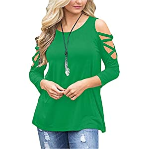 LUOUSE Women's Hollowed Out Shoulder 3/4 Long Sleeve Casual Tunic Blouse Loose T-Shirts Tops