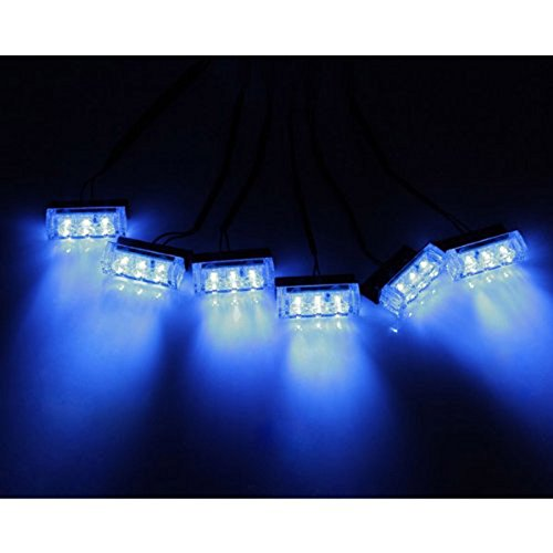 18 LED de emergencia estroboscopica del vehiculo se enciende para la parrilla // la cubierta Luz estroboscopica del vehiculo SODIAL azul R