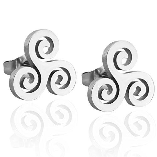 Adeley Stainless Steel Celtic Triple Spiral Swirl Triskele Symbol Stud Earrings Triple Swirl Earrings