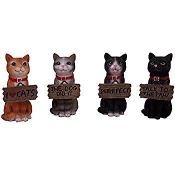 Set of 4 Feisty Felines Kittens Holding Plaques Decorative Figurines, 4 Inch