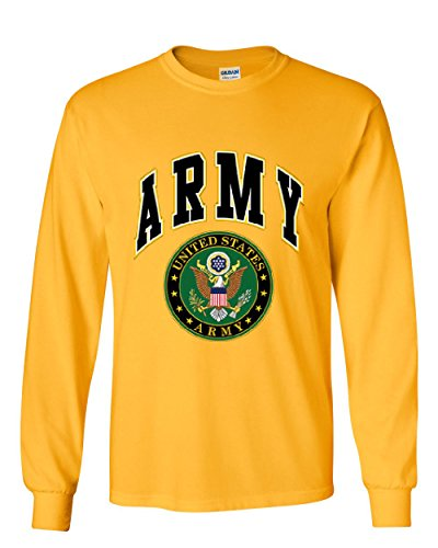 Army Mom Yellow T-shirt - United States Army Long Sleeve T-Shirt Army Crest Patriotic Yellow 2XL