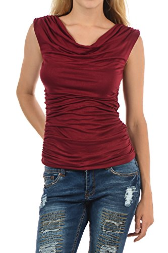 Auliné Collection Womens Career Solid Color Ruched Cowl Neck Casual Blouse Top Burgundy Large