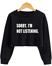 G-Amber Girls Long Sleeve Sweatshirts Kids Crop Print Funny Letters Fashion Pullover Tops