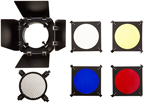 Neewer Barn Door and Honeycomb Grid and Gel Set for Hensel, Elinchrom, Photogenic