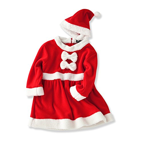 Baby Girls Santa Claus Costume Jumpsuit Romper Dress Christmas with Hat (19-24 Months, Red) (Santa Baby Outfit)
