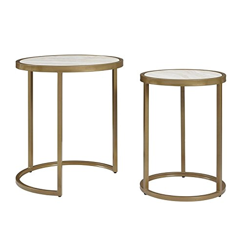 2 Piece Nesting Tables Stylish Tubular Metal with a Soft Brass Finish and a Faux Marble Tabletop Small Spaces Design Built in Compact Design