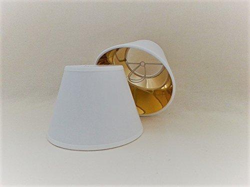 ArG Lighting Blanc Petite Bougie à Clipser Abat-Jour en Tissu Doré Doublure Faite à la Main Plafond Lampe Murale Abat-Jour Lustre Moderne Abat-Jour