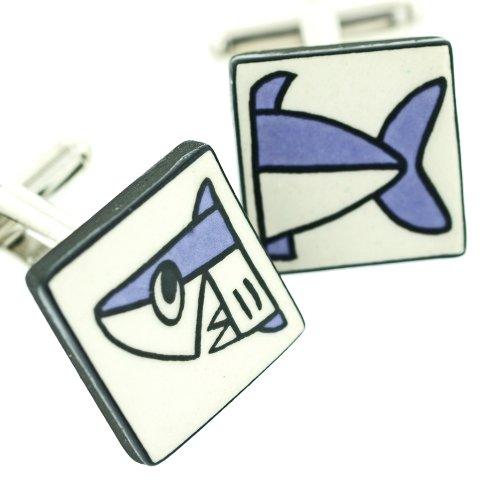 Ceramic Shark Cufflinks. Made in England