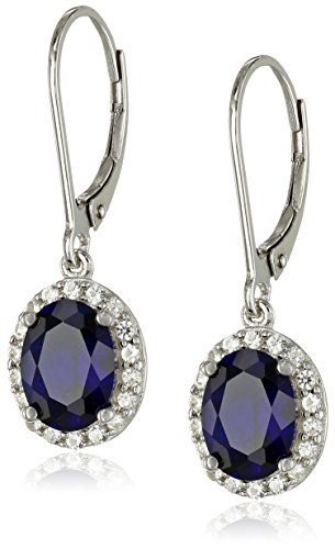Sterling Created Sapphire Lever Back Earrings product image