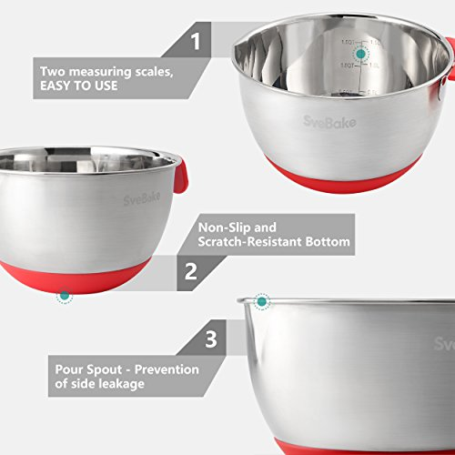 SveBake Mixing Bowls - Stainless Steel Mixing Bowl Set with Handles, Pour Spouts, Non-Slip Base and Graters, Set of 3, Red by SveBake (Image #2)