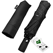 HQdeal Automatic Compact Travel Umbrella with Reverse and Safe Lock Design, Teflon 210T Auto Open Close Folding Strong Windproof Umbrella