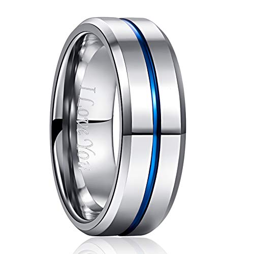 NUNCAD Engraved I Love You Tungsten Carbide Ring Polished Finish Blue Center Groove Size 8