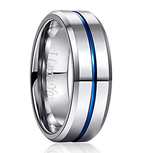 NUNCAD 8mm Polished Finish Tungsten Carbide Ring Engraved I Love You Beveled Edges Size 6.5 ()