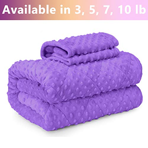 MAXTID 7lb Kids Weighted Blanket Set (for Children 70-90 lbs) Purple 41x60 inches Premium Glass Beads Cotton/Minky Gift for Kids