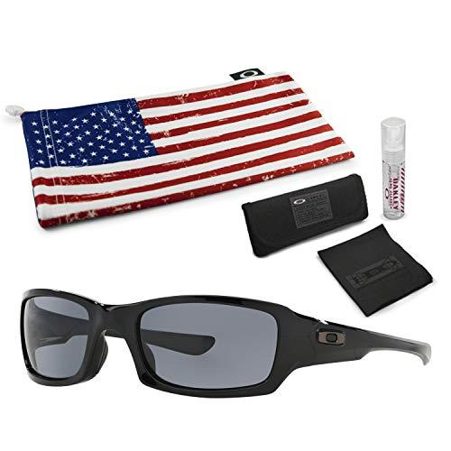 Oakley Fives Squared Sunglasses (Polished Black Frame, Grey Lens) with Lens Cleaning Kit and Country Flag Microbag (Oakley Ersatzgläser Fives 3.0)
